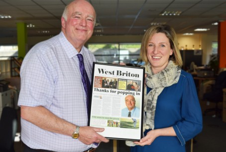 Rhod receives his farewell front page from Cornwall Live editor Jacqui Merrington