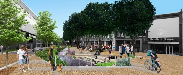 An artist's impression of how part of the revived river could look