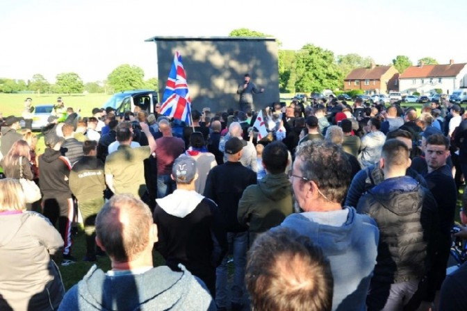 Yaxley-Lennon speaking at the rally