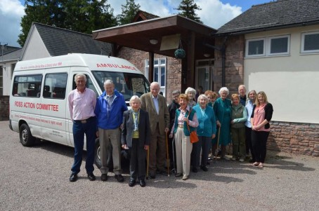 Gazette general manager Charlotte Reynolds, far right, with Ross Action Bus volunteers and passengers