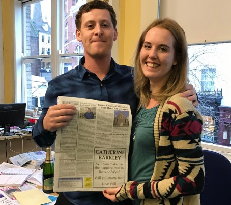 Will and Catherine with the proposal advert in this week's Gazette