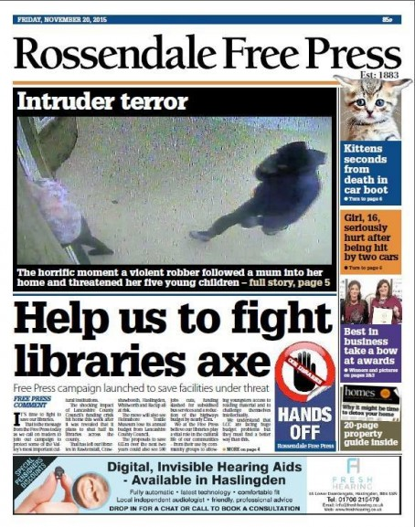 The Rossendale Free Press front pagw which launched the campaign