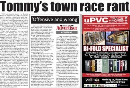 How the Advertiser initially covered Yaxley-Lennon's visit