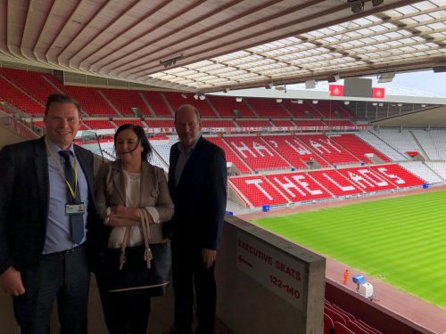 Pictured from left at Sunderland AFC's Stadium of Light home: North East Change Team project and strategy manager Keith Leightley, North News court reporter Karon Kelly and SoE executive director Ian Murray