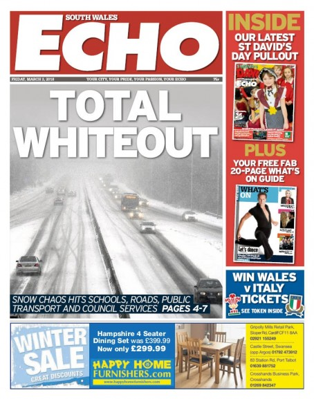 An image of the Echo's front page today