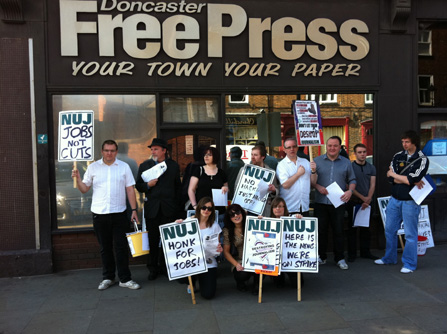 Journalists on the picket line in Doncaster