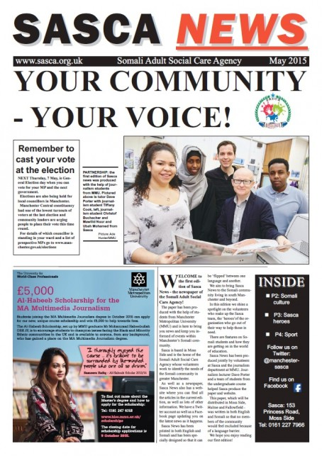 The front page of the first edition of Sasca News