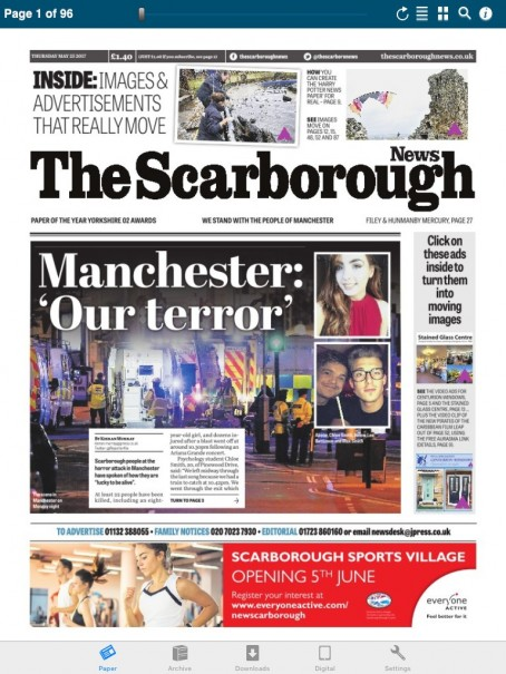 The front page of this week's Scarborough News, which features two advertisements that can be transformed into videos