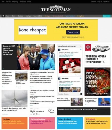 A screenshot of the new Scotsman website