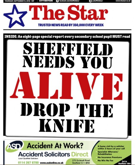 Sheffield daily The star's Drop The Knife campaign is among those shortlisted