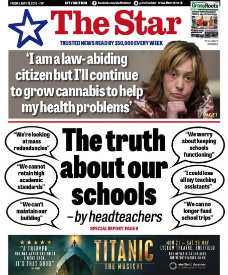 The front page of Friday's Star