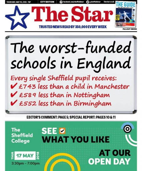 The front page of Thursday's Star