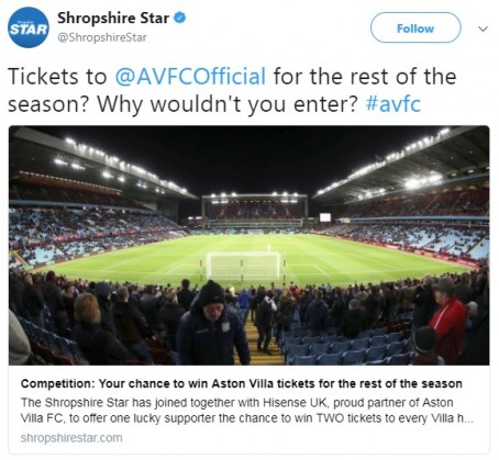 A tweet promoting the competition