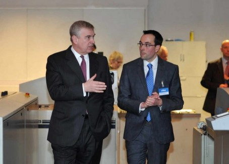 The Duke of York (left) was show around the Shropshire Star's offices by editor Martin Wright