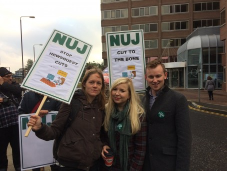 NUJ members on the picket line in South London yesterday