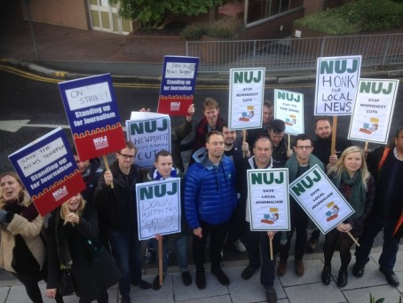 Striking Newsquest South London on the picket line