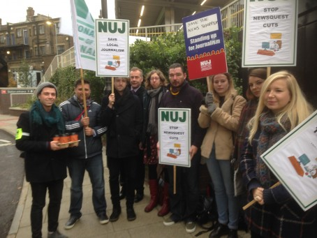 Striking journalists on the picket line yesterday