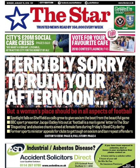 The Star's front page on Monday
