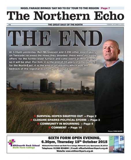 The front page of yesterday's Echo