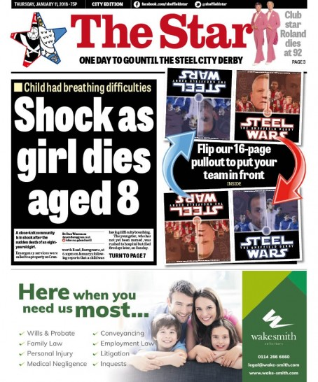The front page of yesterday's Star