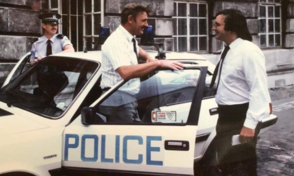 Steve Davies, right, at a photocall with police during his time at the Southampton Advertiser