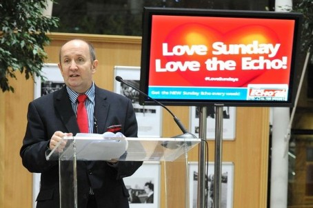 Liverpool Echo editor Alastair Machray announces the launch of its Sunday edition