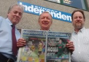 From left: New Sunday Independent proprietor Peter Masters, editor John Collings and managing director Colin Bradbury
