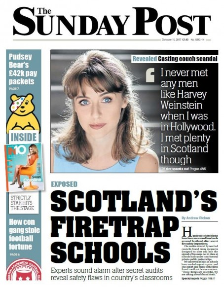 The front page headline had been approved by Joanne Thomson