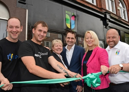 Doncaster Free Press editor Phil Bramley, third right, is pictured at the opening of the Made By U project, along with people involved with the initiative.
