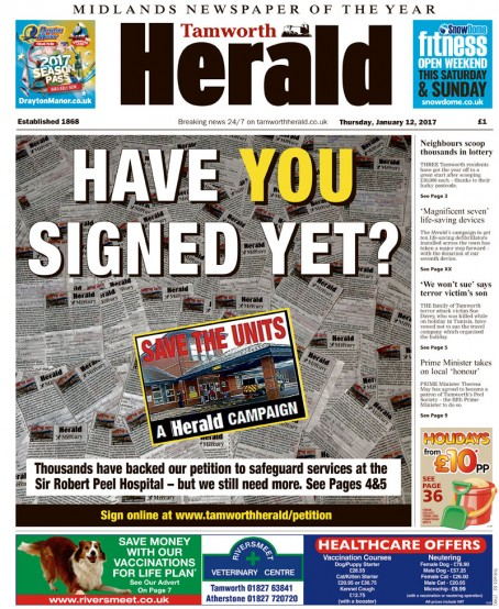 The campaign featured on the front page of this week's Herald