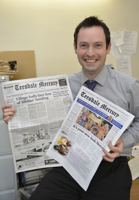 Editor Trevor Brookes with the new-look Teesdale Mercury