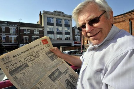Terry outside Standard House, Southend, where he began his career aged 15