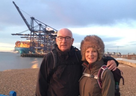 Terry and Karen at Felixstowe, on the end of their walk
