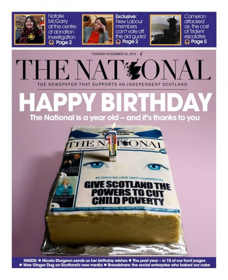 The National 1st Birthday front page