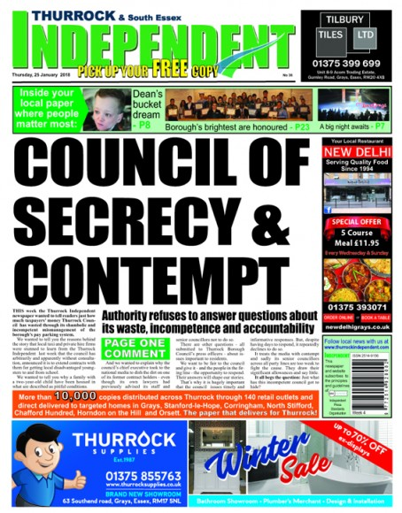 A Thurrock Independent front page criticising Thurrock Council