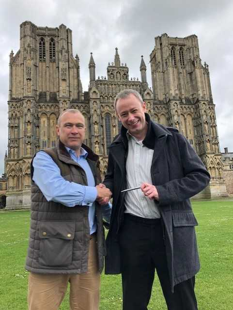 Tim Lethaby, right, in his home city of Wells with Nub News CEO Karl Hancock