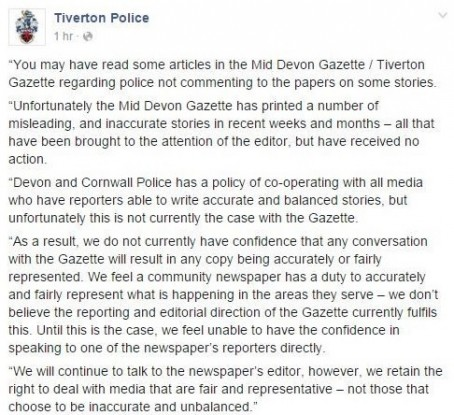 The initial Facebook post from December which criticised the Gazette
