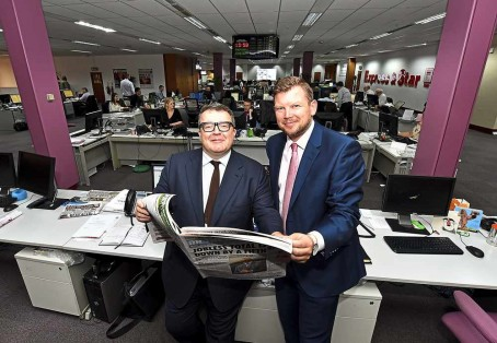 Tom Watson at the Express & Star's head office with editor Keith Harrison