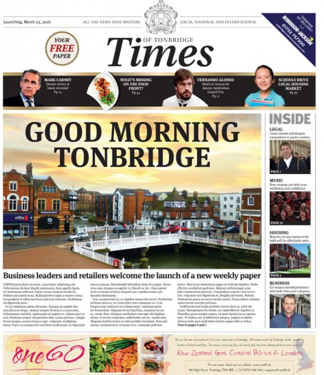 A dummy of how the Times of Tonbridge will look