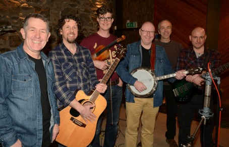 Gwerinos at the song's recording with Tudur Huws Jones on banjo. Photo by Arwyn Roberts.