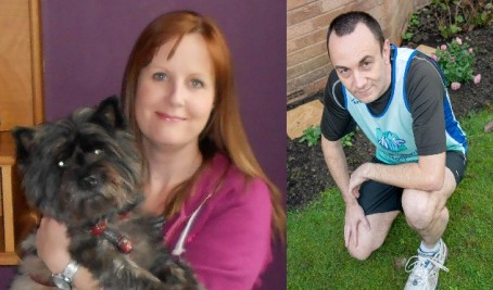 Adrian Norsworthy, right, will run 13 marathons in memory of partner Sarah Veall, left