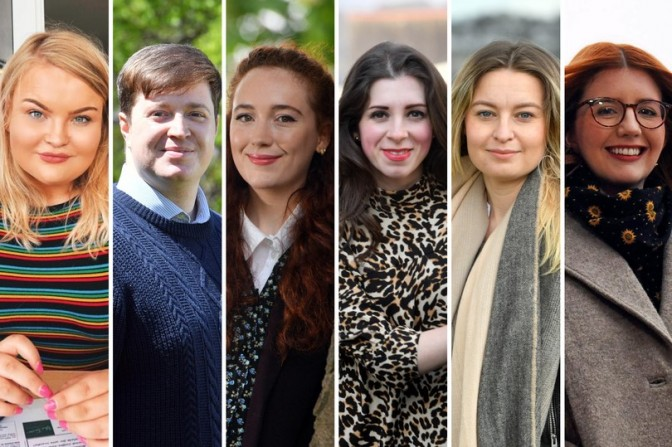 From left: Amy Knight, Lewis Smith, Lucy John, Katie Gupwell, Corrie David and Lydia Stephens
