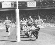 Warrington score a try at the 1990 Challenge Cup final