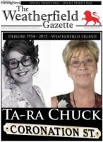 "The Weatherfield Gazette ""splash"" as featured online by the MEN"