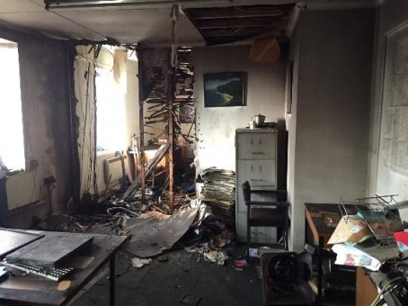 The editor's office after the fire