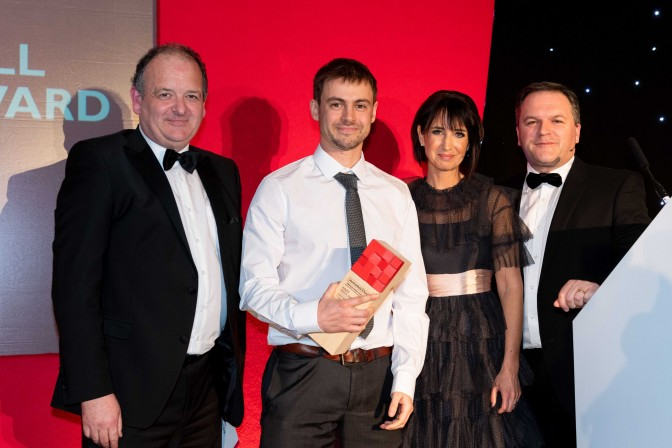 From left: Journalists' Charity Wales committee chairman Tim Rogers, Journalist of the Year Will Hayward and Wales Media Awards presenters Lucy Owen and Jonathan Hill