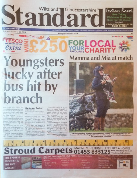 Wilts and Gloucestershire Standard page one