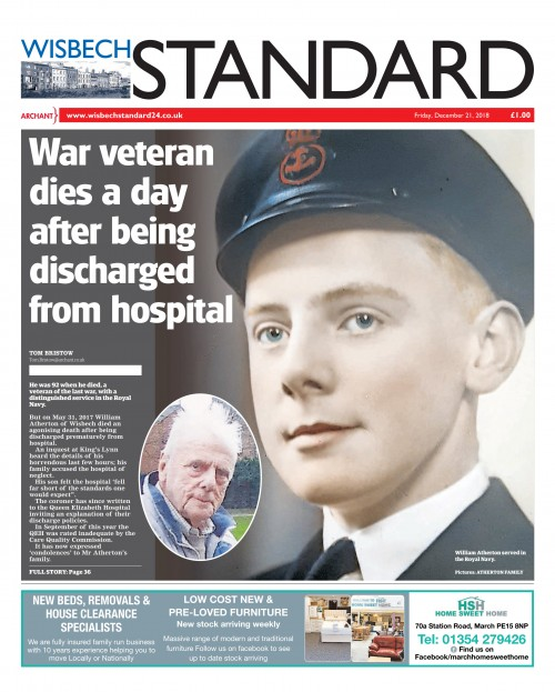 Wisbech Standard - War eteran dies a day after being discharged from hospital