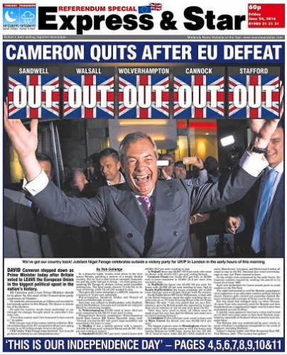 The E&S covered the referendum result with a special edition on 24 June