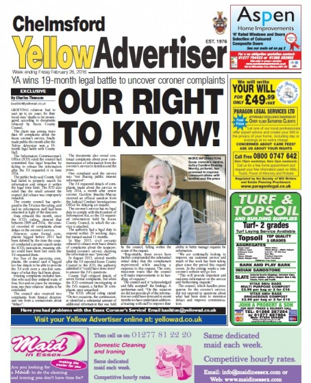 The story provided a front page story for the YA's Chelmsford edition